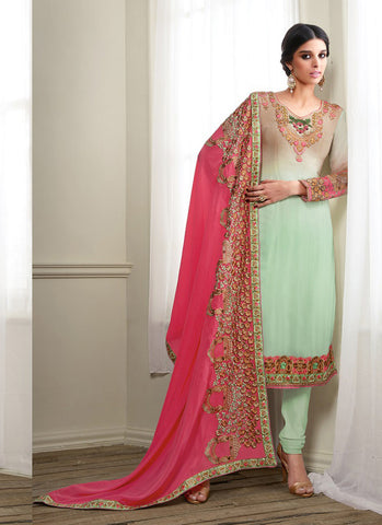 Green with Lace Work Astounding Unstitched Salwar Kameez