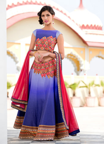 Women's Silk Fabric & Navy Blue Pretty A Line Lehenga Style With Crystals Stones Work Dupatta