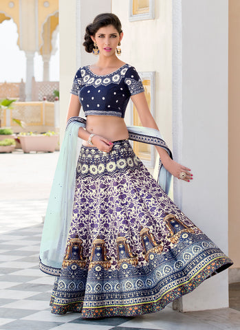 Women's Silk Fabric & White Pretty A Line Lehenga Style