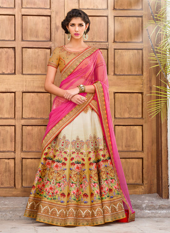 Women's Beige & Silk Fabric Pretty Unstitched Lehenga Choli