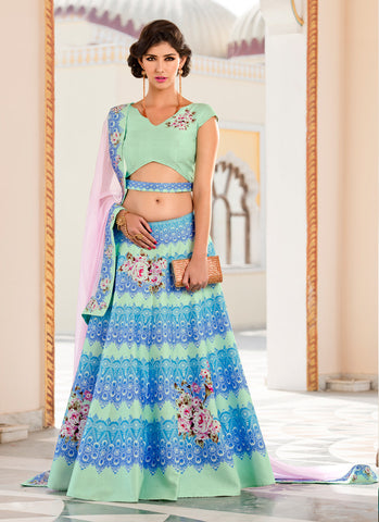 Women's Pretty A Line Lehenga Style in Aloe Vera Green With Crystals Stones Work Dupatta