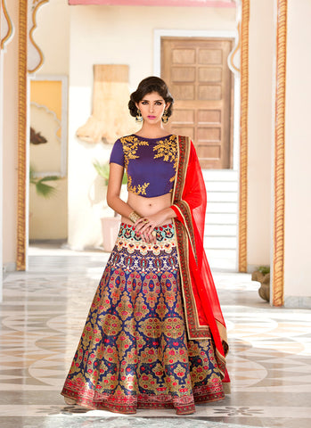 Women's Silk Fabric & Navy Blue Color Pretty A Line Lehenga Style With Crystals Stones Work Dupatta