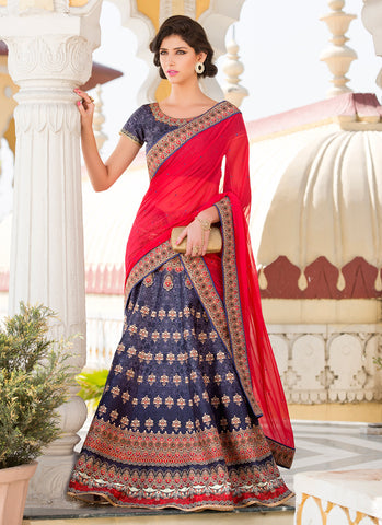 Women's Silk Fabric Navy Blue Pretty Unstitched Lehenga Choli With Crystals Stones Work Dupatta