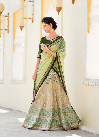 Women's Pretty A Line Lehenga Style in Green With Crystals Stones Work Dupatta