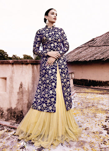 Women's Beige Pretty Lehenga Choli With Lace Work In Traditional Look