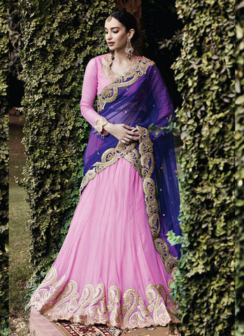 Women's Pretty Circular Lehenga Style in Rose Pink With Crystals Stones Work Dupatta