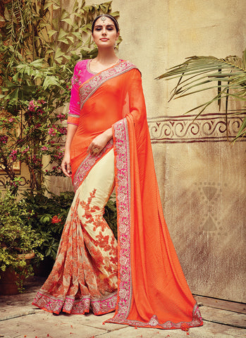 Deep Orange Saree with Beads Work