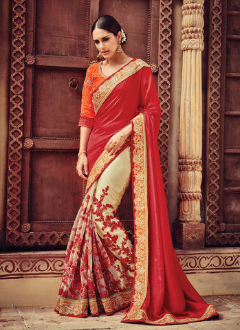 Women's Attractive Looking Beige Net Ethnic Saree