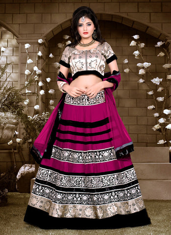 Women's Deep Pink Silk Fabric Pretty Unstitched Lehenga Choli With Lace Work Dupatta