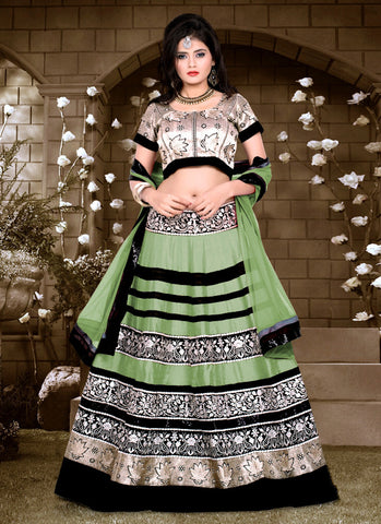 Women's Pretty A Line Lehenga Style in Aloe Vera Green With Lace Work Dupatta