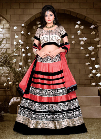 Women's Silk Fabric Salmon Color Pretty Unstitched Lehenga Choli With Lace Work Dupatta
