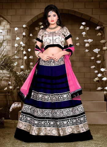 Women's Silk Fabric & Deep Blue Pretty A Line Lehenga Style With Lace Work Dupatta