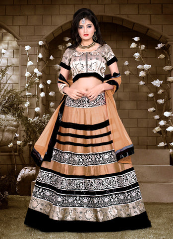 Women's Silk Fabric & Brown Pretty A Line Lehenga Style