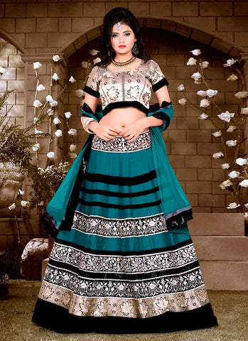 Women's Silk Fabric & Teal Blue Pretty A Line Lehenga Style With Lace Work Dupatta