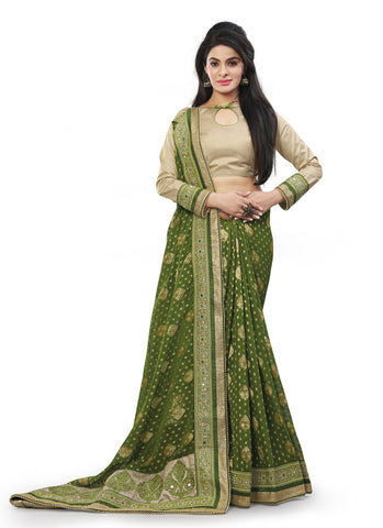 Mehendi Green Saree With Charming Fancy Pallu