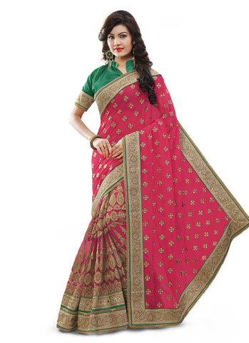Women's Attractive Looking Pink Butta Work, Crystals Stones, Lace, Mirror, Resham & Beads Ethnic Saree
