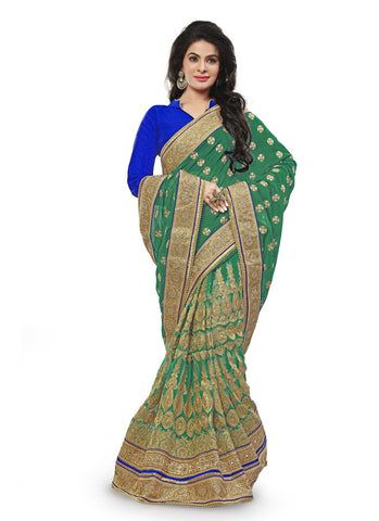 Emerald Net Saree