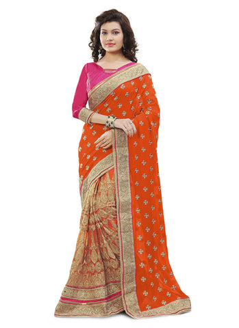 Women's Classic Looking Net Orange Ethnic Saree