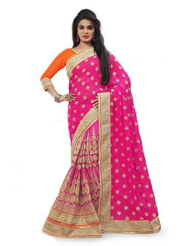 Beautiful Looking Net Pink Ethnic Saree For Womens