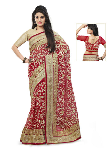 Crimson Saree With Eye-catching Embroidered Pallu