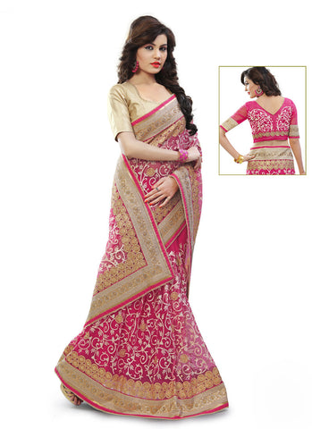 Women's Attractive Looking Pink Butta Work, Crystals Stones, Lace, Resham & Beads Ethnic Saree