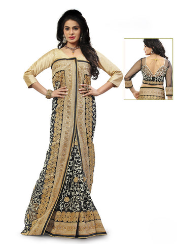 Women's Attractive Looking Black Butta Work, Crystals Stones, Lace, Resham & Beads Ethnic Saree