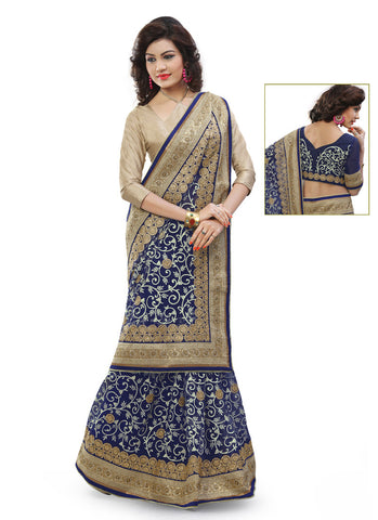 Embroidered Pallu Saree in Navy Blue Color