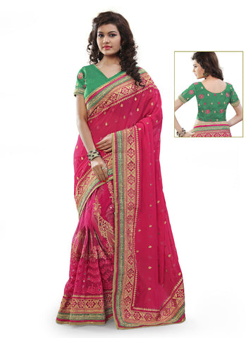 Women's Attractive Looking Pink Beads, Resham, Mirror, Lace, Crystals Stones & Butta Work Ethnic Saree