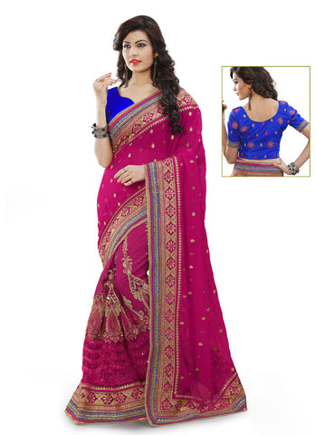 Women's Attractive Looking Pink Mirror Ethnic Saree