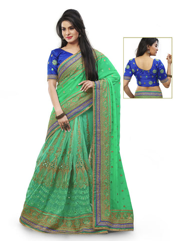 Beautiful Embroidered Pallu Saree in Mint Green Color