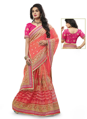 Exquisite Embroidered Pallu Saree in Salmon