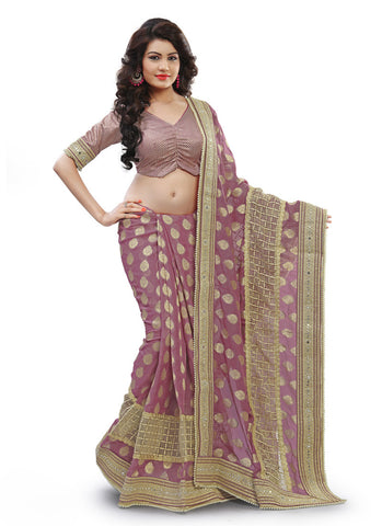 Pink Saree With Cute Fancy Pallu