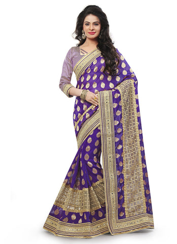 Purple Saree with Crystals Stones Work