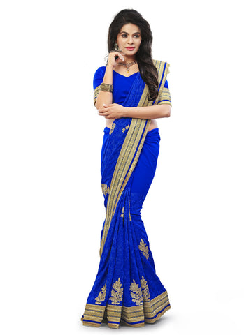 Blue Saree With Charming Embroidered Pallu
