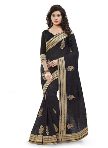Attractive Looking Georgette Black Women's Ethnic Saree