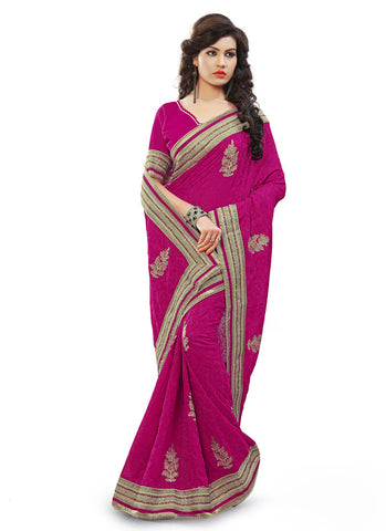 Embroidered Pallu Saree in Magenta