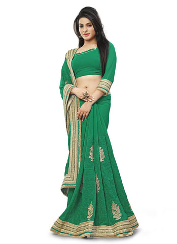 Emerald Saree With Attractive Embroidered Pallu