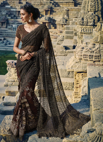 Women's Attractive Looking Imported Brown Ethnic Saree