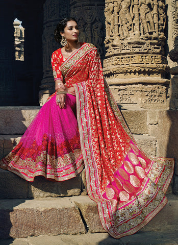 Women's Attractive Looking Pink Resham, Mirror, Lace, Crystals Stones, Butta Work & Bugle Beads Cutdana Ethnic Saree