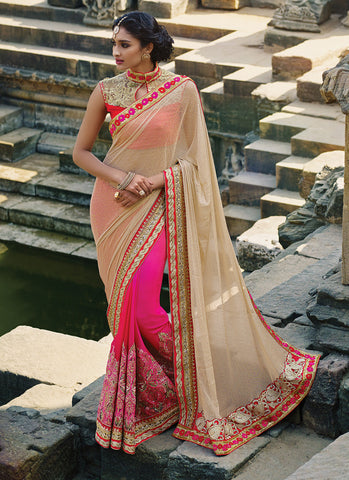Women's Classic Looking Lycra Pink Ethnic Saree