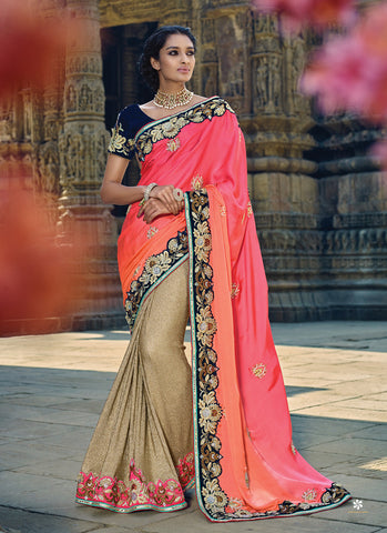 Women's Classic Looking Imported Brown Saree