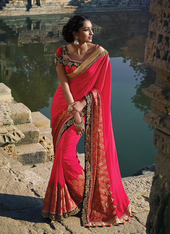 Women's Attractive Looking Pink Crystals Stones, Lace & Sequins Work Ethnic Saree