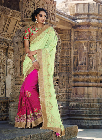 Exquisite Fancy Pallu Saree in Deep Pink Color