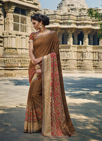 Chocolate Saree With Gorgeous Embroidered Pallu