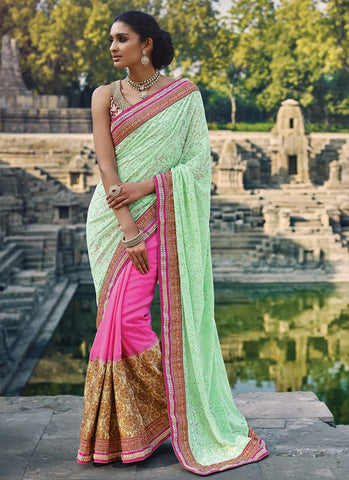 Women's Attractive Looking Pink Crystals Stones, Resham & Beads Ethnic Saree