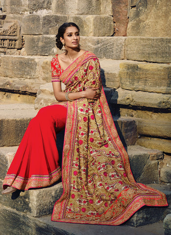 Women's Attractive Looking Red Resham, Lace, Crystals Stones, Butta Work & Bugle Beads Cutdana Ethnic Saree