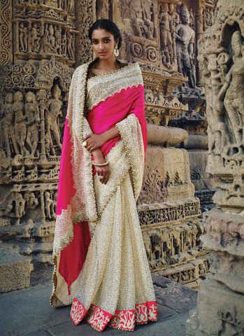 Women's Attractive Looking Ethnic Imported Pink Saree