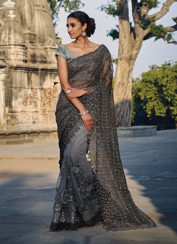 Women's Attractive Looking Ethnic Imported Gray Saree