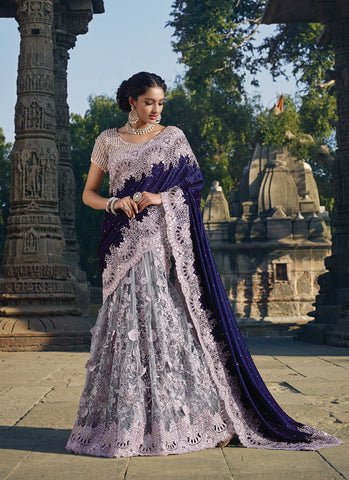Women's Attractive Looking Velvet Gray Ethnic Saree