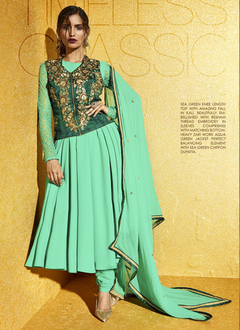 A Line Style Green with Sequins Work Incredible Unstitched Salwar Kameez